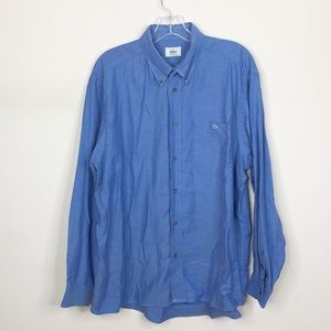 Lacoste Cotton Button Down Dress Blue Shirt XL 44